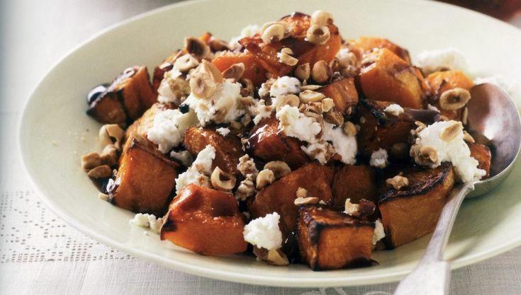 Pumpkin, roasted hazelnut and feta salad