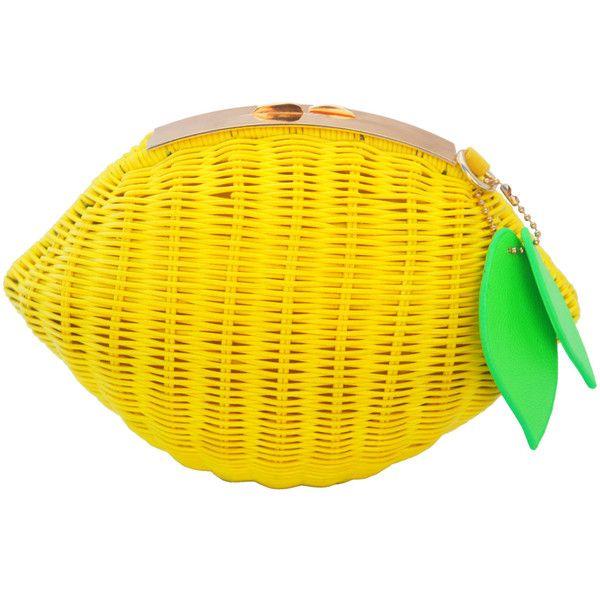 Milanblocks Womens Woven Pattern Lemon Straw Handbag Cross Body Beach Fruit Clutch Featuring Polyvore Fashion Ba Handbags Unique Purses Clutches