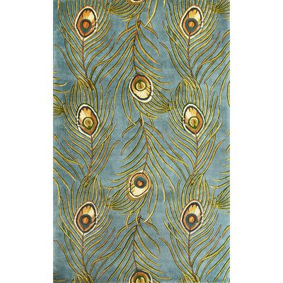 "KAS Rugs Catalina Blue Peacock Feathers Novelty Area Rug Rug Size: Runner 2'6"" x 8'"