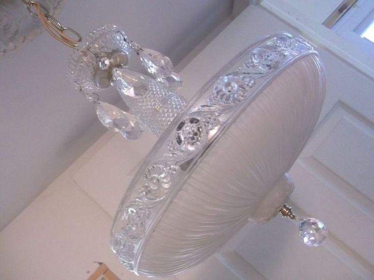 Vintage 30's Art Deco Ceiling Lamp Light Fixture ChandelierOff White w/Crystals