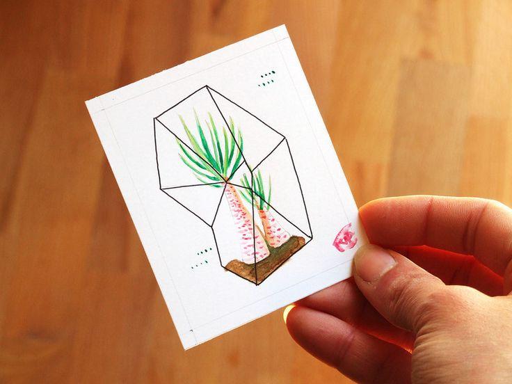 ACEO+Mini+quadro+con+palma+rosa+di+Valeria+Draws+su+DaWanda.com