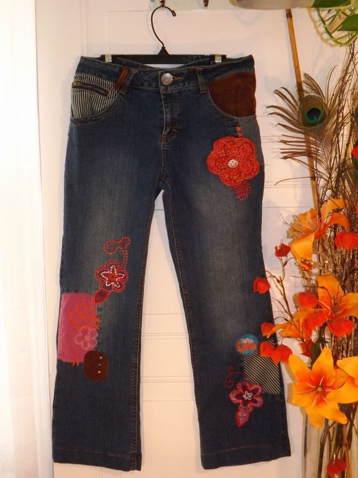 """Girls """"That's so Raven"""" denim jeans with knitted floral designs, sz 16 #ThatssoRaven #Relaxed #Everyday #shopping"""