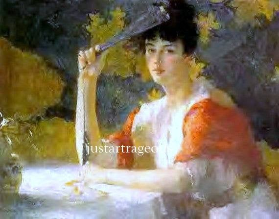 Red And Gold Frank F Benson 1915 Woman With Fan Portrait Of