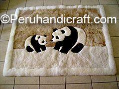 100% Baby Alpaca Fur Rug, 'Panda Bear and cub'
