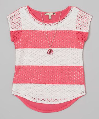 Look at this #zulilyfind! Fuchsia Lace Wide Stripe Layered Top & Necklace by Speechless #zulilyfinds