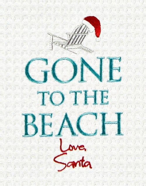 Gone to the Beach Santa Kitchen Towel