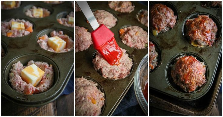 How to make cheese stuffed mini meatloaf cups from @sweetphi