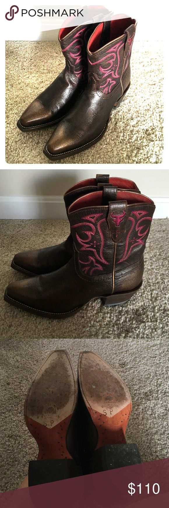 H.S. Trask brown and pink ankle cowboy boots Classic short cowboy boots by H.S. Trask! Leather sole, leather interior, and leather outsole. Made in Mexico. These are sure to turn heads! H.S. Trask Shoes Ankle Boots & Booties