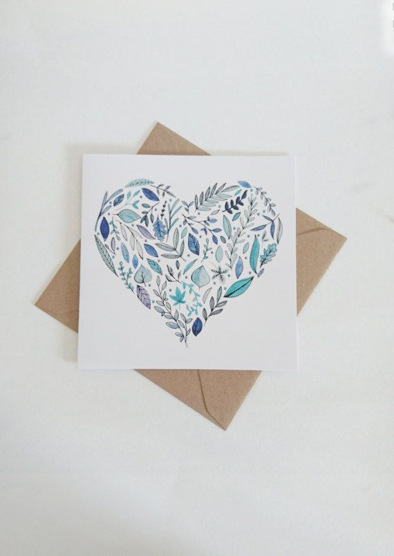 Leafy Heart square greetings card. Find these at St Ives Guildhall on the first Tuesday of every month.