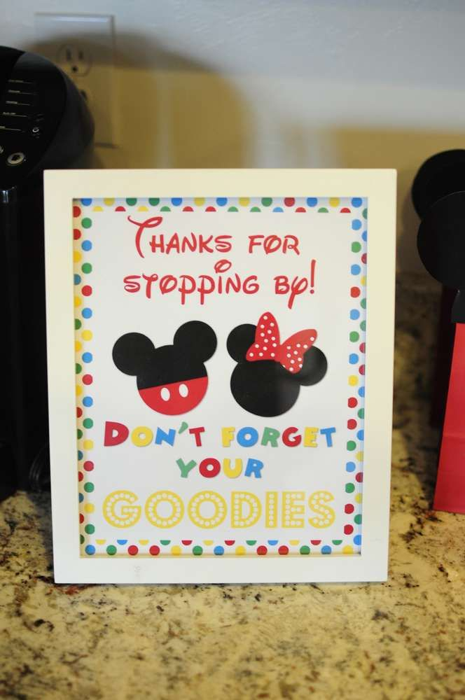 Don't Forget Your Goodies Sign by Favor Bags - Josh's 3rd Mickey Mouse Clubhouse Celebration | CatchMyParty.com