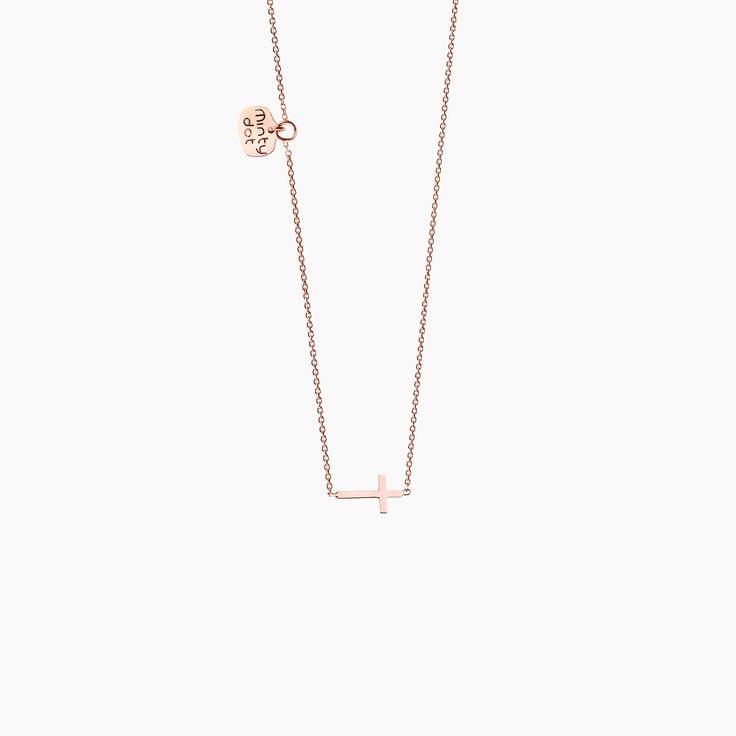 PETIT KRZYŻYK - naszyjnik z różowego złota