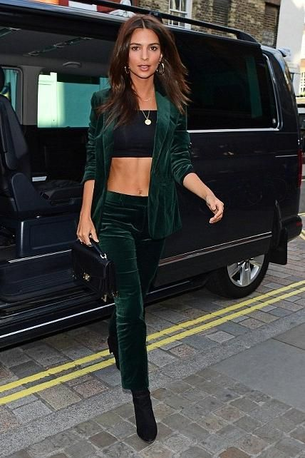 Emily Ratajkowski wearing Frame Cropped Velvet Pants, Frame Velvet Blazer in Spruce, The Kooples Emily Bag in Black, Stuart Weitzman Clinger Suede Boots, Jennifer Fisher Baby Samira Hoop Earrings and Jennifer Meyer Good Luck Charm Necklace
