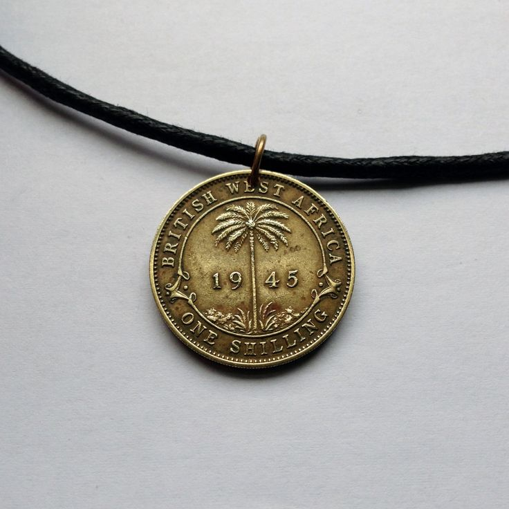 1945 British West Africa 1 Shilling charm coin pendant necklace jewelry Palm tree beach UK World War 2 African tree King George No.000726 by acnyCOINJEWELRY on Etsy