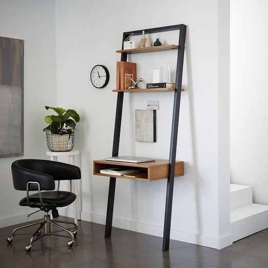 designed with smaller spaces in mind our ladder shelf desk set matches lots of storage it features twelve fixed shelves with a compact footprint and avenue greene grey ladder storage office wall