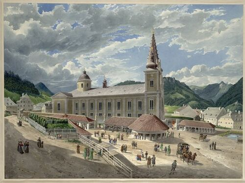 Eduard Gurk, Die Basilika Mariazell vom Kirchplatz aus (Guckkastenblatt), um 1833 © Albertina, Wien