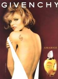 Amarige - Givenchy,  anagram of French word 'Mariage.' Intensive as a strong feeling, unforgettable as a moment of happy mariage. Opulent, floral, composition seems to include all the beautiful flowers that exist in the world. Amarige woman is graceful, playful, charming, radiating joy, a real French woman in love. (Dominique Ropion 1991).