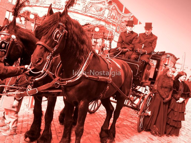 'The Funeral Carriage' print. #undertakers #funeraldirectors #sepia #funeral #carriage #old #dublin #masseybrothers #irish #ireland #smithfield #dublincentenary2016 #coffin #dead #death #horse #black #tophats #victorian #vintage #nostalgia