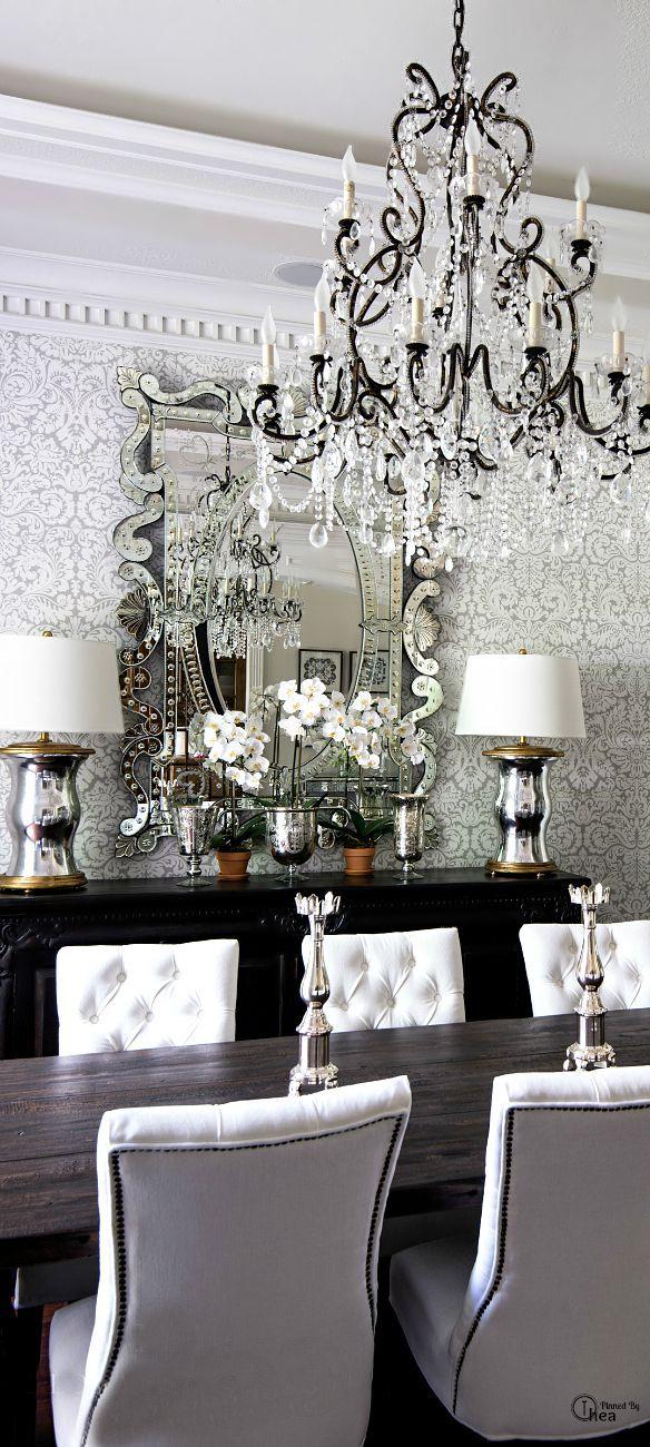chandelier, damask wallpaper