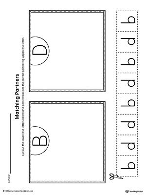 Help your student practice identifying lowercase letters b and d with this matching to uppercase printable worksheet.