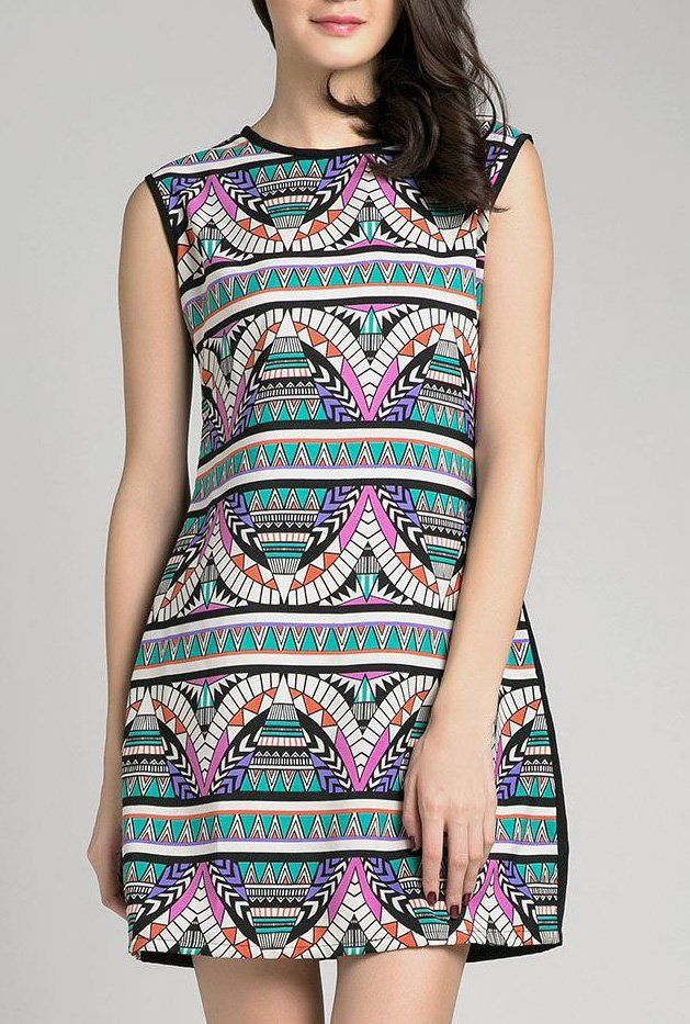 Aurelia Dress by Kizzie. Sleeveless dress with colorful tribal pattern in front, a super colorful but it has a black color on the back and it has zipper at back for closure. Cute dress for hang out, pair this cute dress with a flat shoes or sandals.   http://www.zocko.com/z/JJvJc