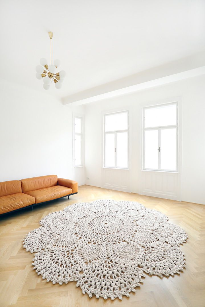 Design Carpet. Magnificent 3m king size rug made to order #handmade #design #carpet fabulously amazing in any floor, tiles or wood... Just perfect in this  simple combination of a design leather sofa and Sputnik chandelier