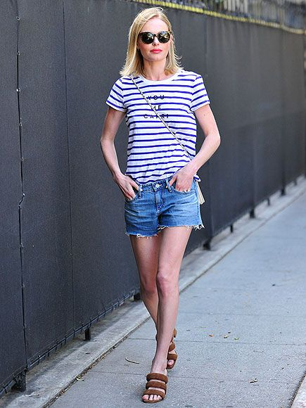 Star Tracks: Monday, April 13, 2015 | NICE & NAUTICAL | Strolling through Beverly Hills on Thursday, Kate Bosworth is the epitome of cool in nautical stripes and chunky brown sandals.