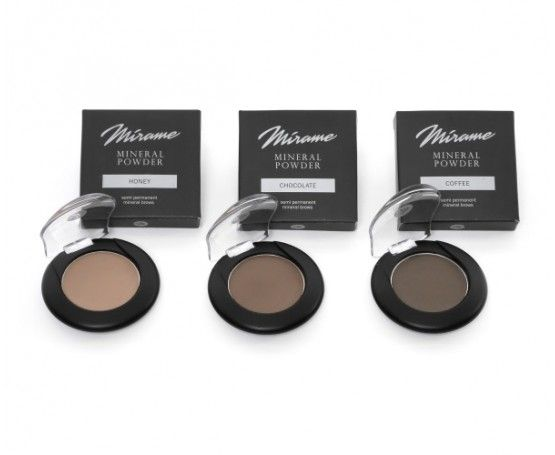 Powder Mírame para cejas. Incluye sombras minerales semipermanentes para cejas con tonos Honey, Chocolate y Coffee