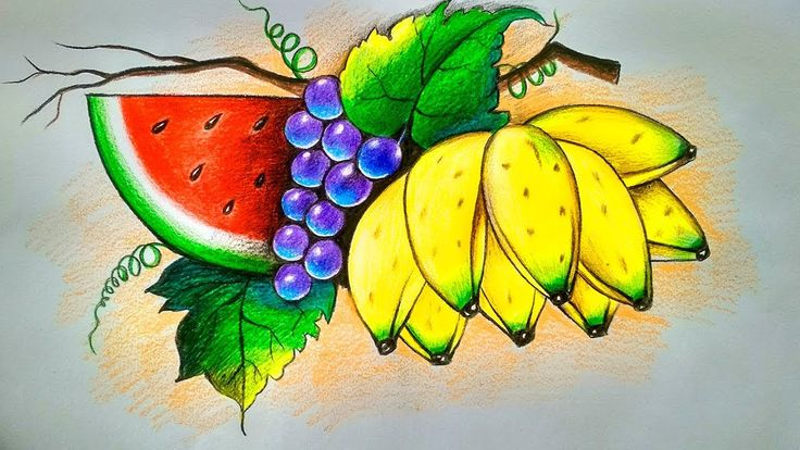 Easy fruit drawing tutorial with color pencil...//fruit ...