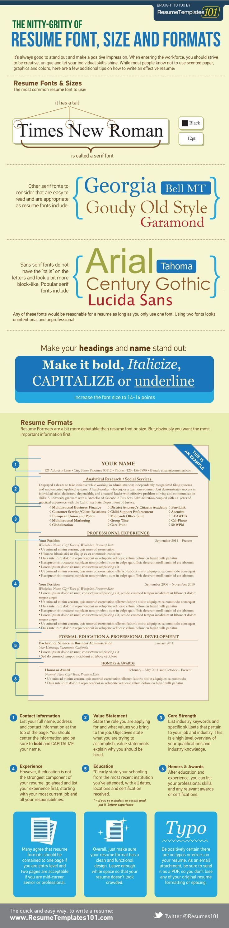 Business infographic : Business infographic : Font-Size-for-Resumes