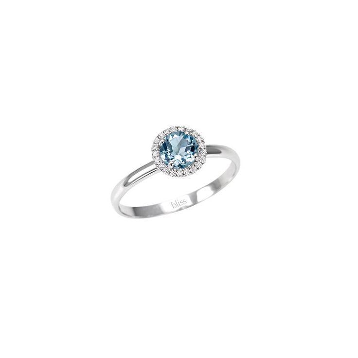 BLISS anello regalo new solitario oro bianco 18 kt acqua marina diamanti ring | eBay