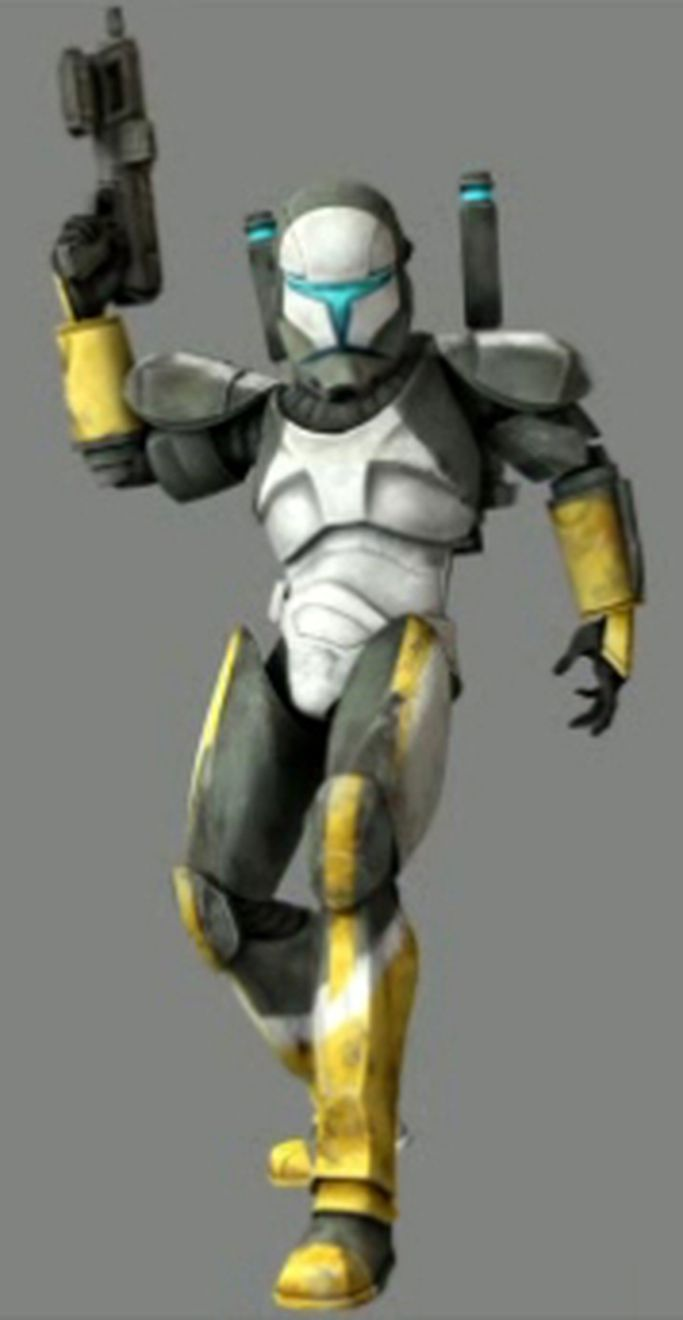 "RC-1262, or Delta-62 (""Scorch"") is a clone of Mandalorian bounty hunter Jango Fett. Born in 32 BBY on the watery world of Kamino, Scorch was trained by the Mandalorian Cuy'val Dar training sergeant Walon Vau to become a clone commando in the Grand Army of the Republic. Together with three other commandos, Scorch was a part of the elite special forces unit, Delta Squad, and served as the squad's demolition and explosives expert. When the Clone Wars broke out between the Galactic Republic and…"