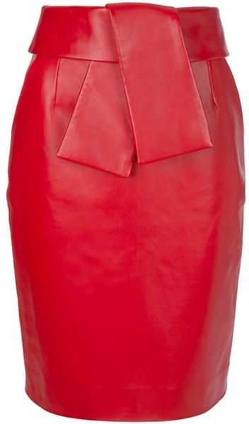 Gorgeous fold over belted leather pencil skirt