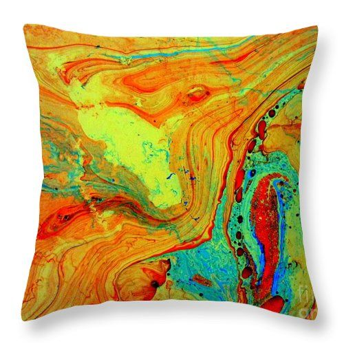 Marbling Throw Pillow featuring the painting Marbling - 2 by Angela Gannicott