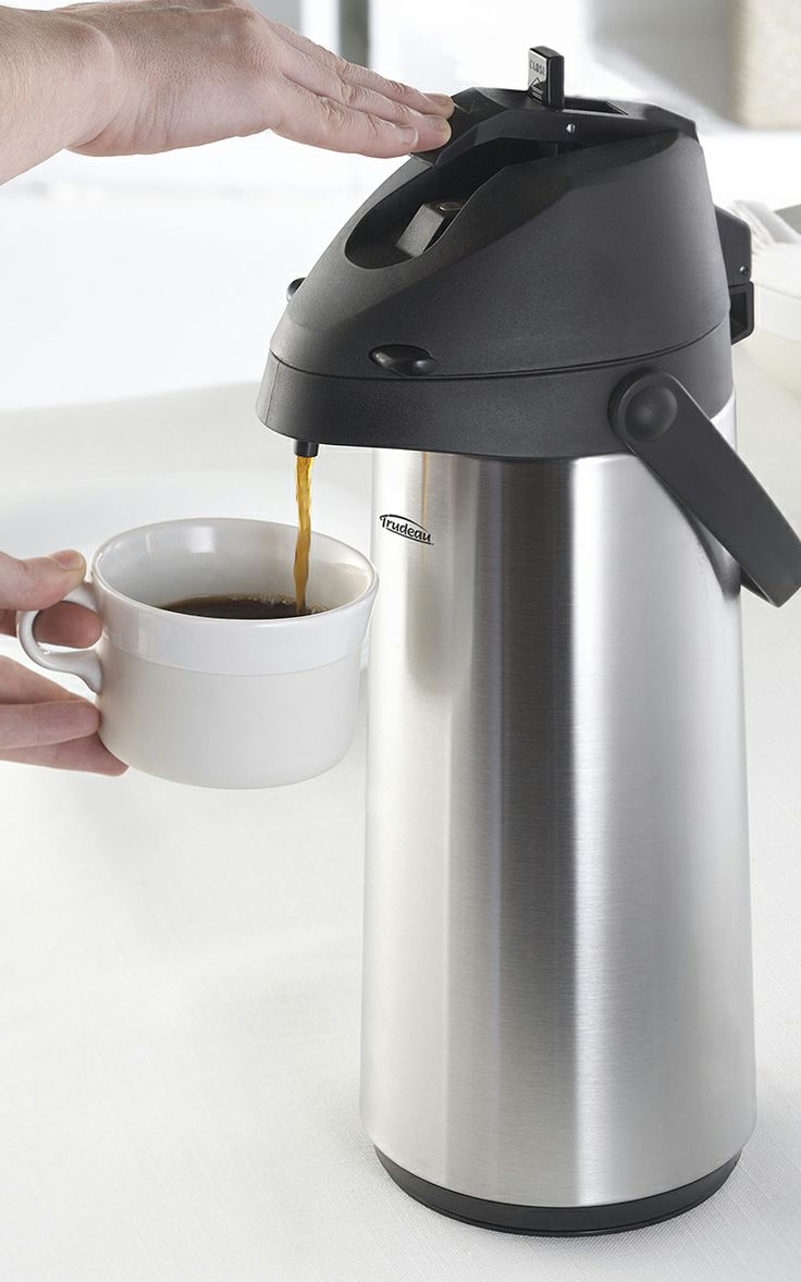 Pump Coffee Pot // keeps your beverage hot for up to 12 hours... great for picnics or the office!