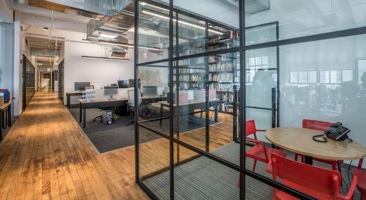 EverGreene Architectural Arts  Designer: MKDA New York    #evergreenearchitecturalarts #office #mkdanewyork #tagwall #industrialsash #interiordesign #officedesign #walldesign #workspaces
