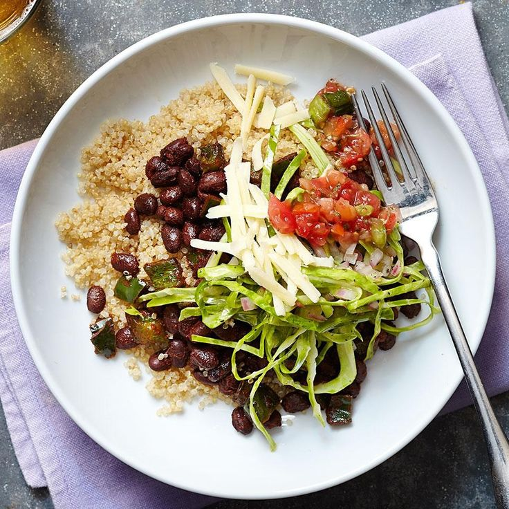 We're making our burrito bowls vegetarian tonight for #MeatlessMonday. Swap rice for quinoa to bump up the protein! #DinnerTonight