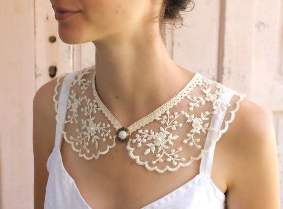 Bib lace collar peter pan collar  necklace by MySecretFace on Etsy, $29.00