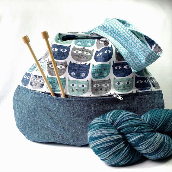 Cat Lover Knitting Crochet Project Bag zippered pocket