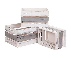 Set de 3 cajas de madera - blanco y gris