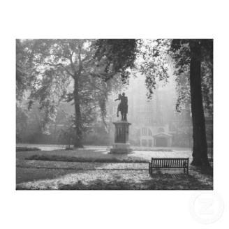 Misty morning in a London square