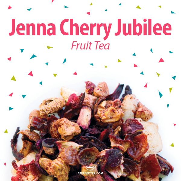 Jenna Cherry Jubilee, Fruit Tea. An infusion of fresh cherries and fruit. As a delightful bonus, every time we sell a 3.52 oz (100g) bag, we donate $1 to the Juvenile Diabetes Research Foundation!
