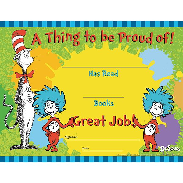 Kindergarten Awards Certificates: Dr. Seuss™ Cat In The Hat Reading Awards