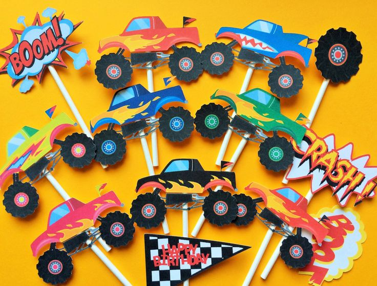 12 Monster truck cupcake toppers, monster truck toppers, monster trucks, birthday cupcake topper monster trucks, monster trucks by Fairfable on Etsy https://www.etsy.com/listing/246877373/12-monster-truck-cupcake-toppers-monster
