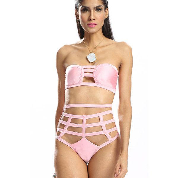 Yoins Sexy Bikini Set with Cut Out Details (21 AUD) ❤ liked on Polyvore featuring swimwear, bikinis, pink, highwaisted bikini bottoms, bikini bottom, pink bikini bottoms, pink high waisted bikini and high-waisted bikinis