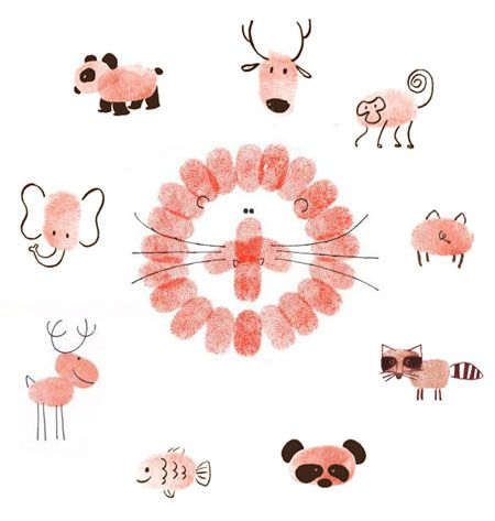 Fingerprint Art inspiration for your little ones: Fingerprints Animal, Fingerprint Art, Animals, Crafts Ideas, Thumb Prints, Fingers Prints, Fingerprints Crafts, Kids, Fingerprints Art