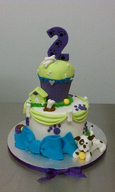 Puppy themed birthday cake