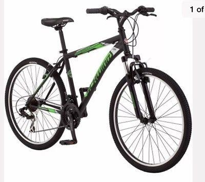Men 26 inch Mountain Bike Schwinn 21 Speeds Suspension Shimano Rear Derailleur2  Frame Material - Steel, Number of Gears - 21, Color - Multi-Color, Gender - Men, Wheel Size - 26, Suspension - Front, Frame Size - 26, Handlebar Type - Flat Bar, Brake Type - Direct|Linear Pull (V-Brakes), Type - Mountain Bike