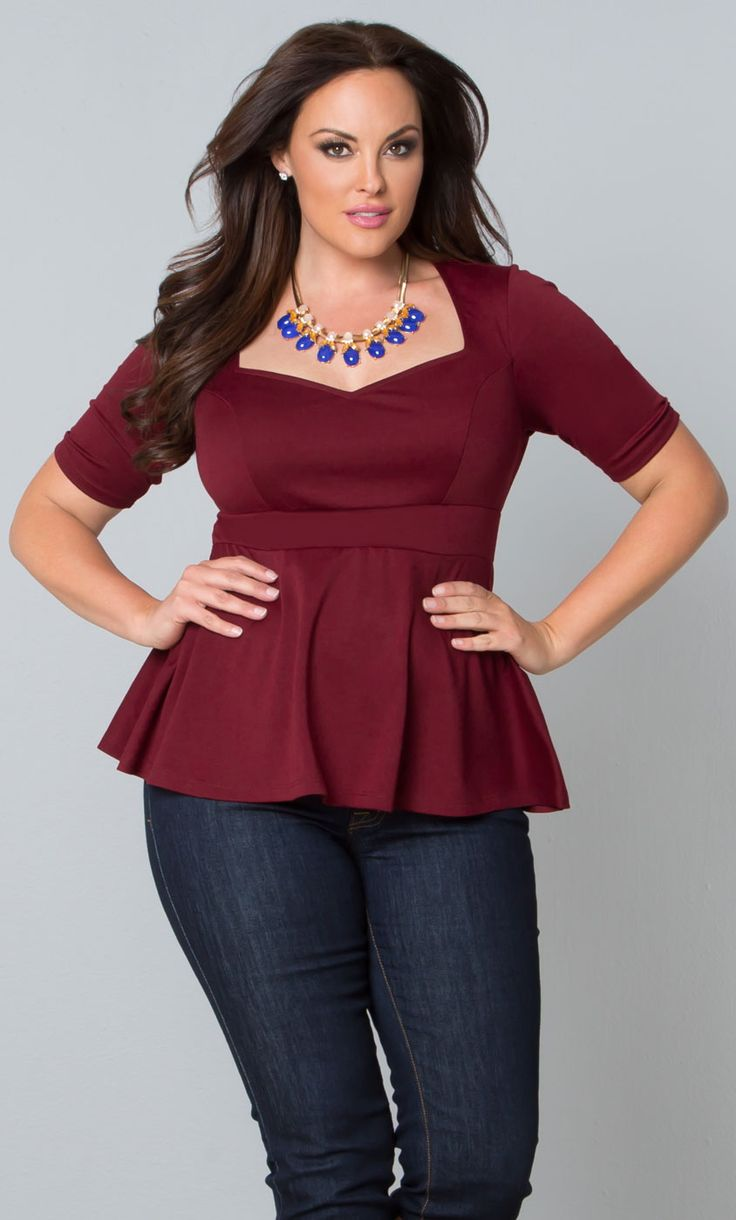Our plus size Posh Ponte Peplum Top is on sale for only $30 for a limited time!  www.kiyonna.com  #KiyonnaPlusYou  #MadeintheUSA  #Deals