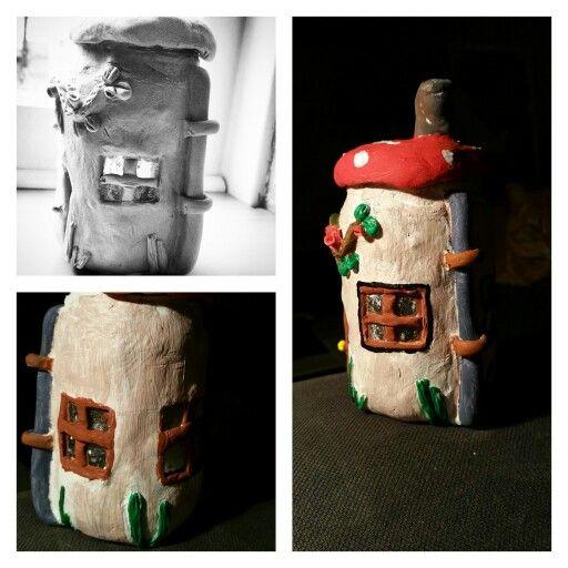 Mason jar clay house /glazen pot met das klei, verven en de kabouter kan zijn woning betrekken