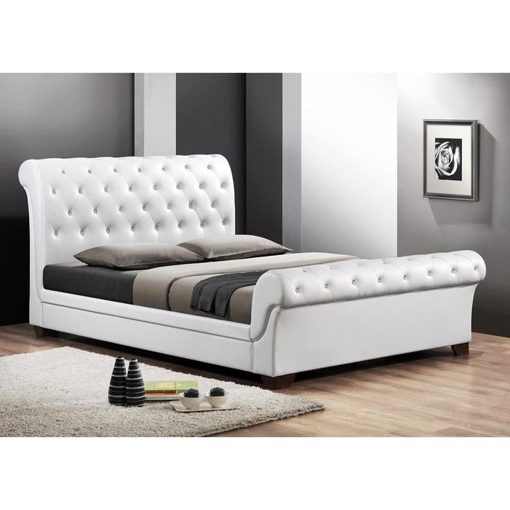 Baxton Studio Leighlin White Modern Sleigh Bed with Upholstered Headboard - Full Size - Overstock™ Shopping - Great Deals on Baxton Studio Beds